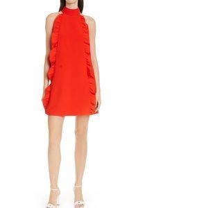 Ted Baker orange red mock neck ruffle  shift dress